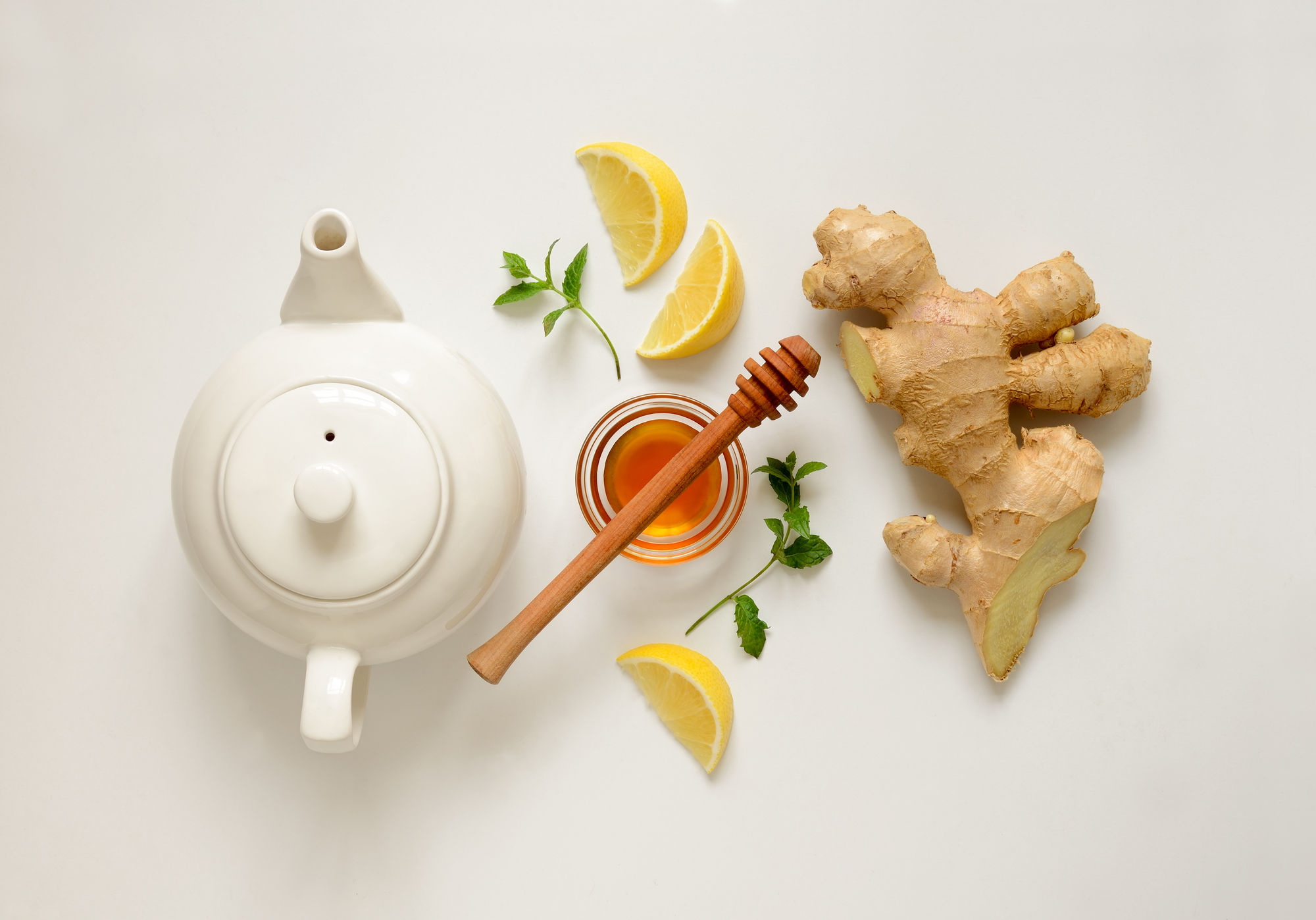 Ginger tea ingredients concept, healthy comforting and heating tea under simple recipe, view from above