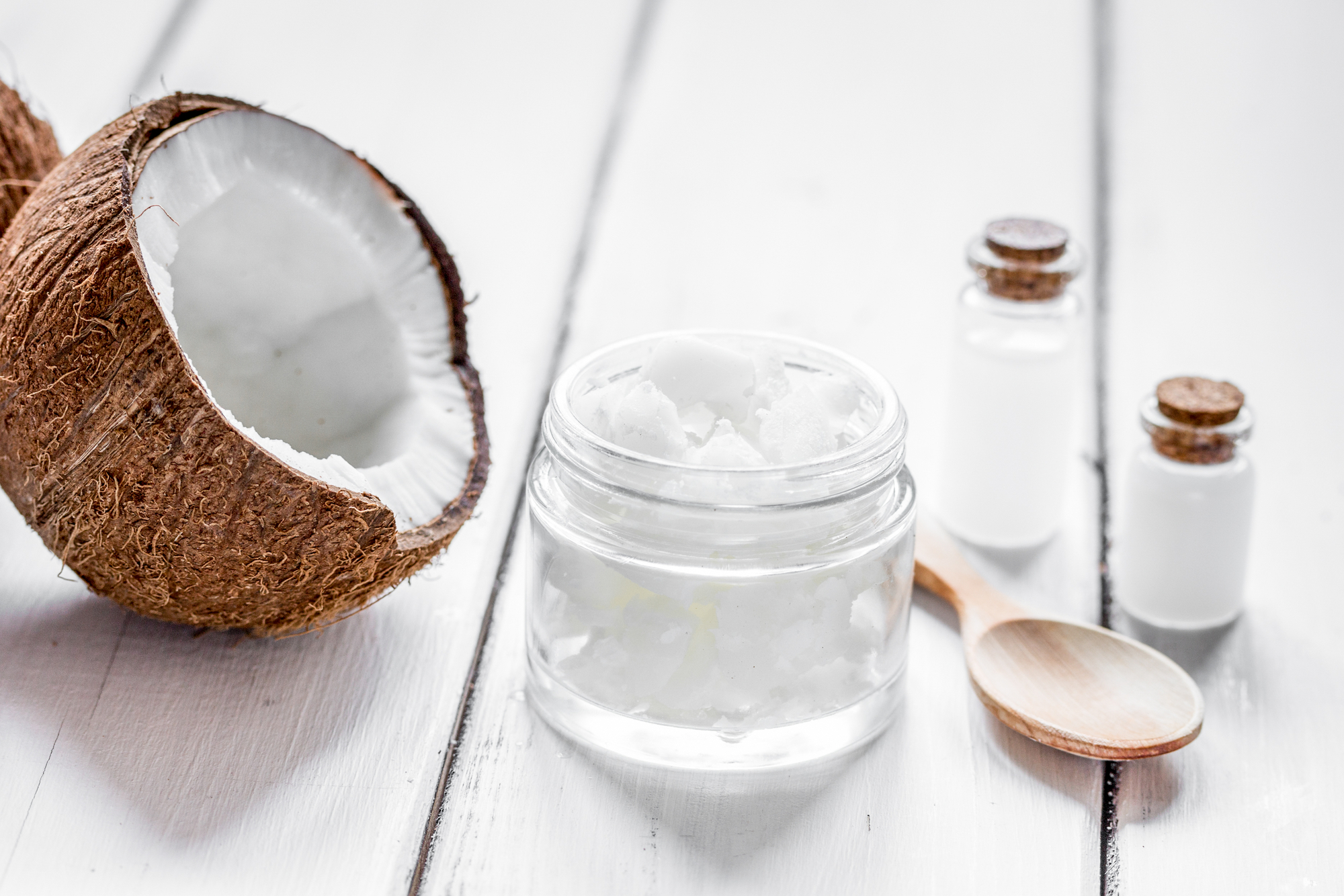 organic cosmetics with coconut on white background mock-up