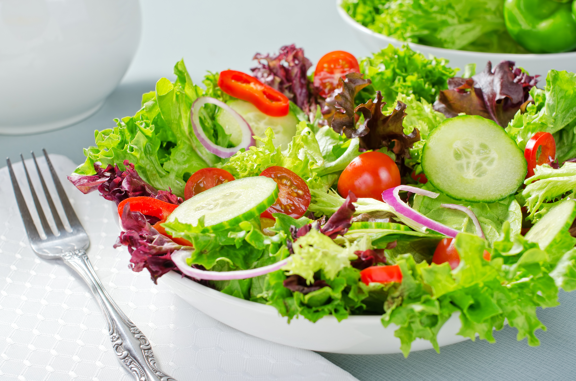 A mixed salad with lettuce, cucumber, tomatoes, red pepperm and red onion.