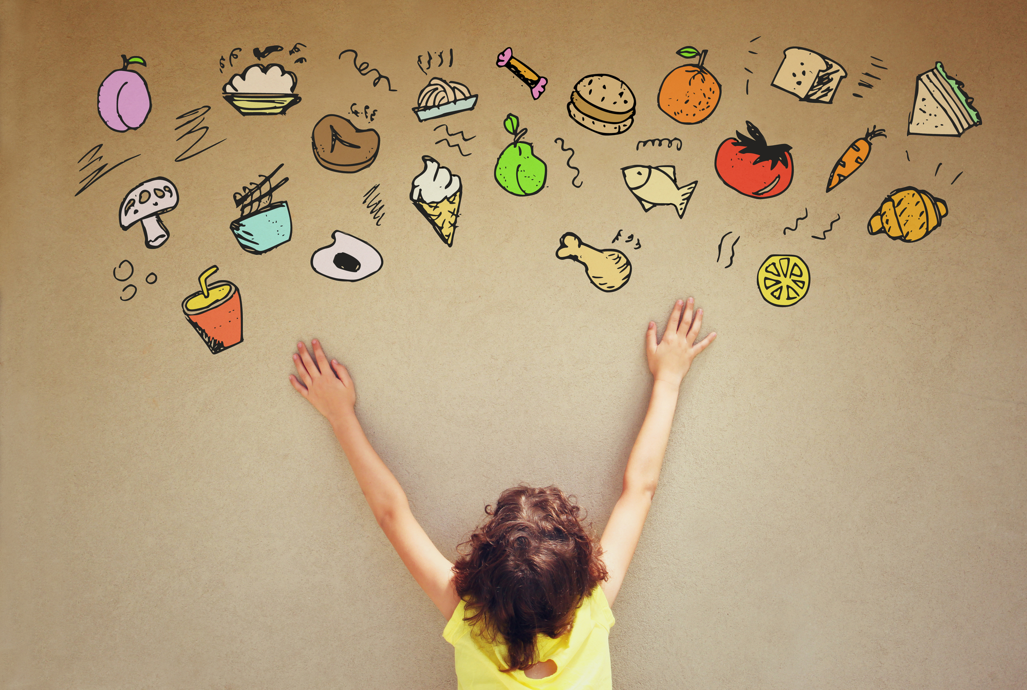 Back view of cute kid imagine varius foods
